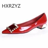 HXRZYZ kobiet pompy czerwone dolne wysokie obcasy panie sexy sukienka buty wiosna/jesień moda szpiczasty nosek lakierki kobiet buty