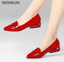 Купить с кэшбэком 2019 Elegant red Pointed Toe Flat Shoes Women Patent Leather Flats Fashion Slip on Ladies Shoes lady slip on ballet Office shoes