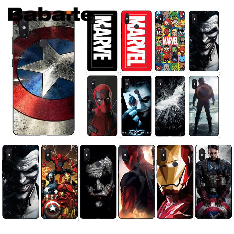 Babaite <font><b>Marvel</b></font> The Avengers Jorker Dead Pool Phone <font><b>Case</b></font> Cover for <font><b>Xiaomi</b></font> Mi 6 Mix2 2S Note3 8 8SE <font><b>Redmi</b></font> 5 5Plus Note4 4X Note5 image