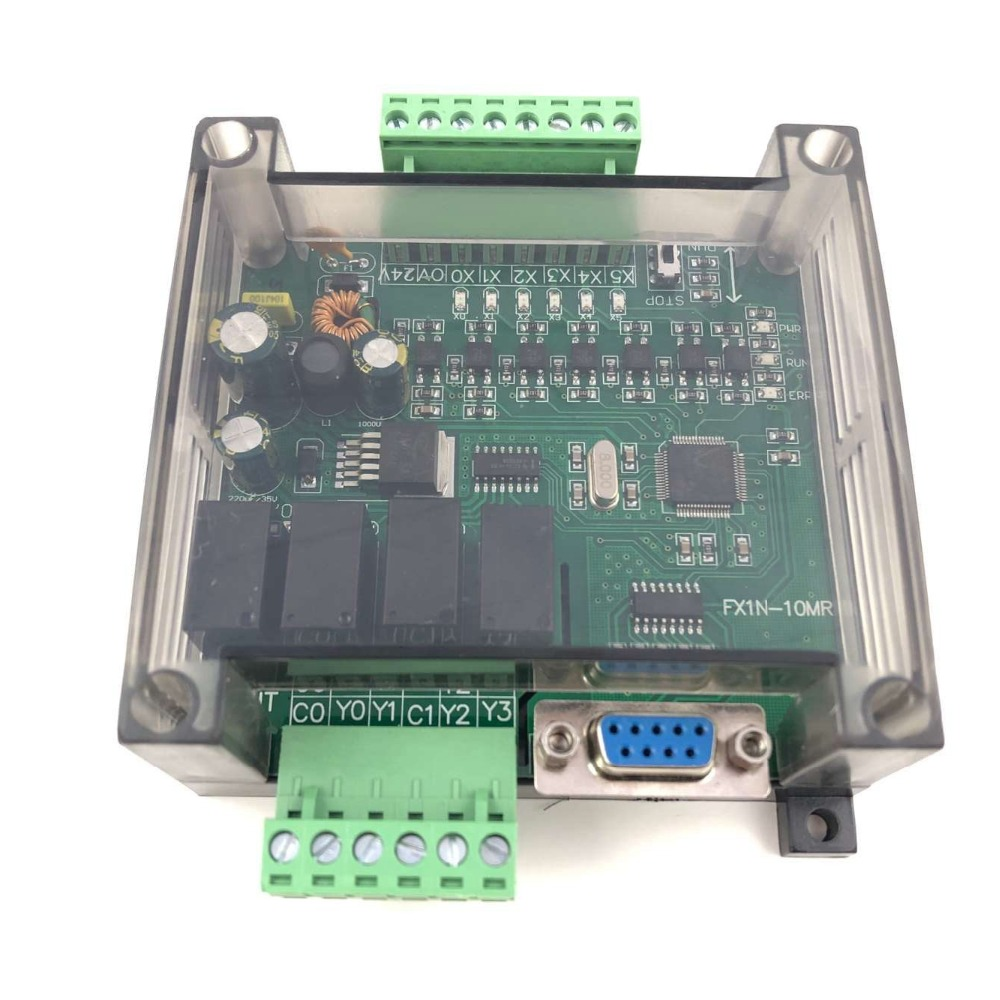 PLC Industrial Control Board With Housing FX1N-10MR FX1N-10MT Controller Programmable Module