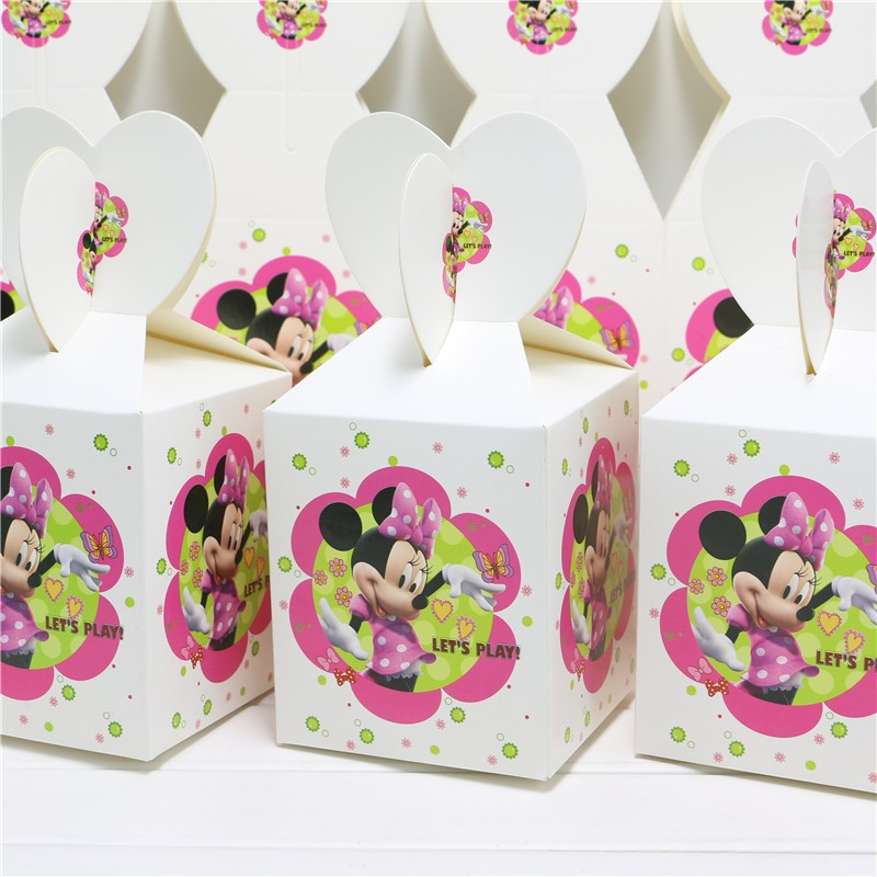 12PCS/lot Lovely Cartoon Minnie Mouse Candy Box Decor Baby Shower Party Happy Birthday Party Decoration Supplies Child Favor
