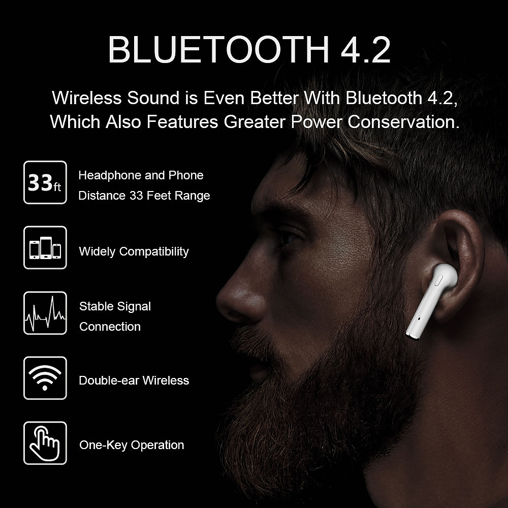 Upgrade i7S mini Bluetooth earphone CSR4.2 Double ear Wireless Headphones Air pods TWS Earbuds Earphone for phone iPhone Android