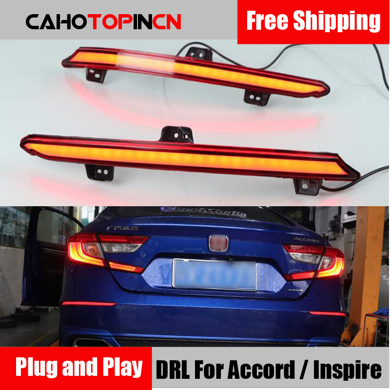 Plug and Play Rear Fog Lamp For Honda Accord Inspire 2018 2019 Car LED Rear Bumper