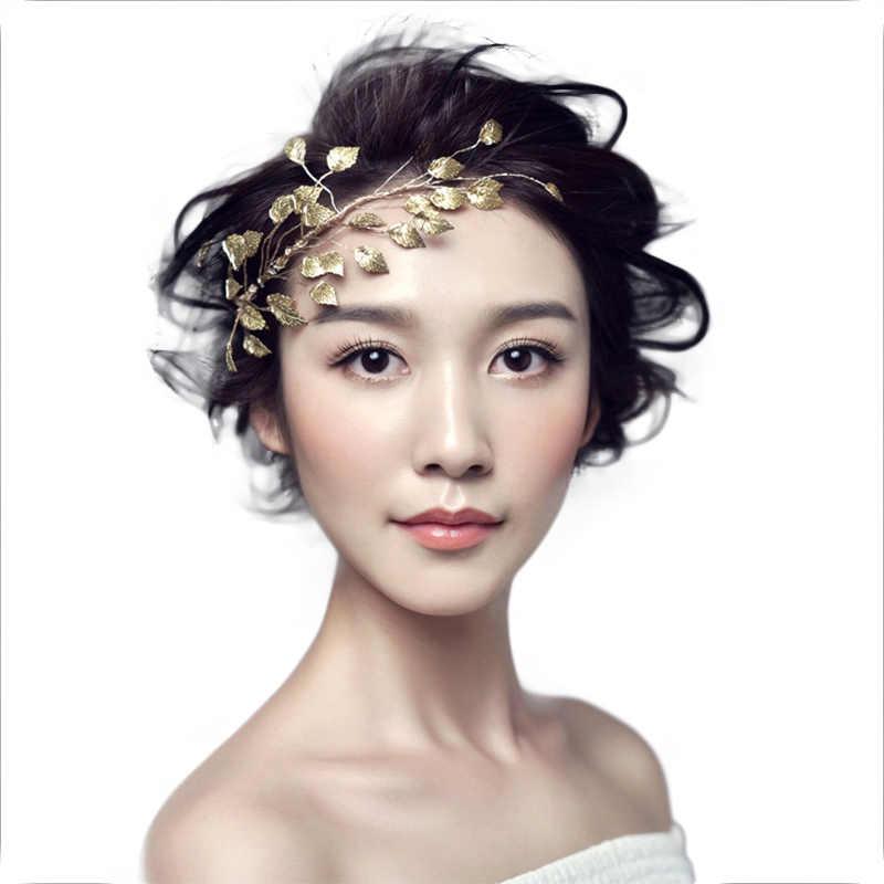 FORSEVEN, diadema China para la frente, diadema nupcial, tiara de hojas de Metal, diadema, horquillas, accesorios de joyas para el pelo de boda BH