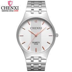 CHENXI бренд Топ для мужчин s часы модные повседневное сталь Группа серебристый, черный наручные часы для мужчин брендов мужские кварцевые