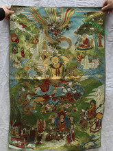 TNUKK 36 inch Silk embroidery Green Tara enlightenment Goddess Tangka Thangka Paintings Mural