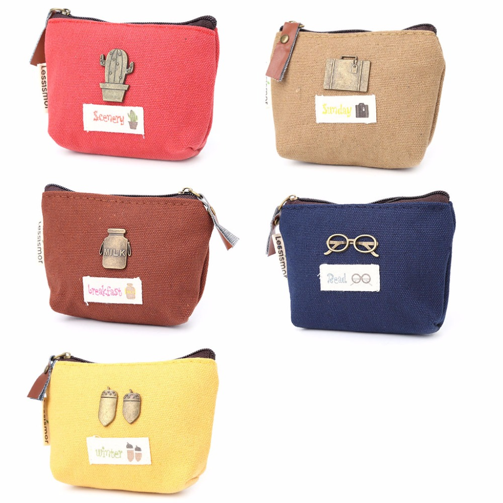 THINKTHENDO Retro Cute Design Women Girl Change Wallet Coin Purse Pocket Small Credit Card Holder Pocket With Zip Casual 5 Color women genuine real leather short wallet zip around purse credit card holder coin change bag with mirror fashion lady id window