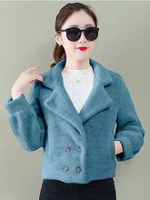 2019 Autumn Winter New Women Short Jacket Small Woolen Fashion Velvet Thickening Wild Furry Slim Long-sleeved Coats