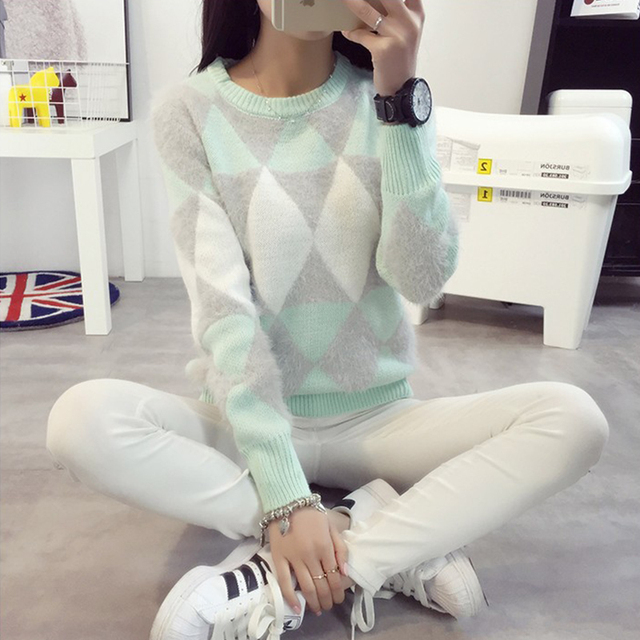 Pink Wool Cute Harajuku Ribbed Sweater O Neck Long Sleeve Oversize Women Pullover Sweater Diamond Hit Color Pull Femme Hiver