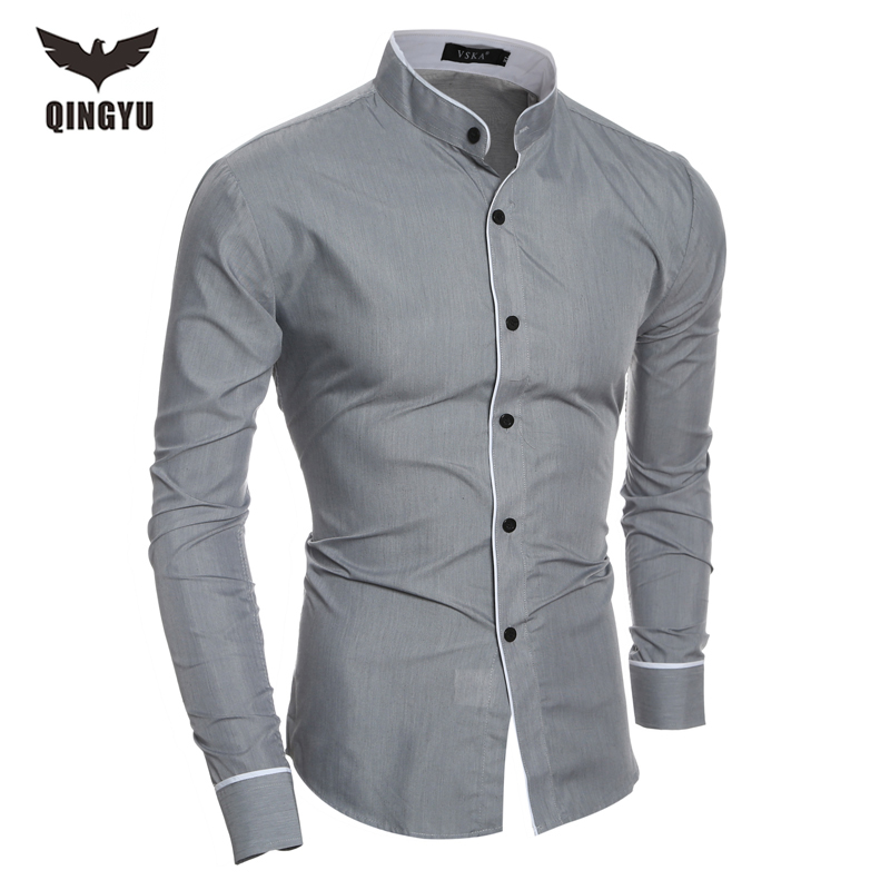 2018 Fashion Brand Men's Solid Slim Long-Sleeved Shirt Male Camisa Masculina Casual Stand collar Chemise Homme Dress shirts XXL