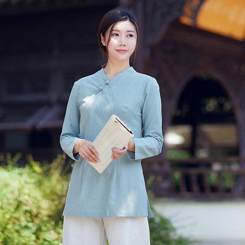 Slim manches longues T-shirt manches longues vetement chinois col croisé plaque boutons Zen thé Service costume veste femmes