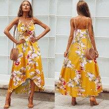 Sweet print dress ins irregular split long strap dress sexy chest bow 2019 new bohemian beach dress women's dress split bow back frilled mixed media dress