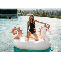 250cm 98inch Giant Seahorse Inflatable Pool Float INS Hot Water Party Fun Toys Ride on Air Mattress Lounger Swimming Ring boia