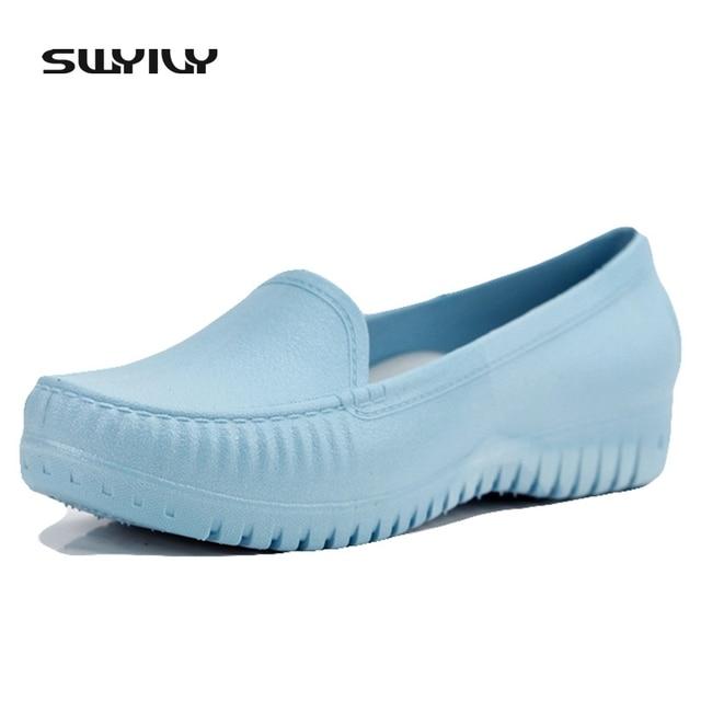 2017 Super Soft Flat Bottom Summer Women's Shoes Shallow Waterproof Rubber Rain Shoes Light Anti-slip Nurse Hotel Worker Flats
