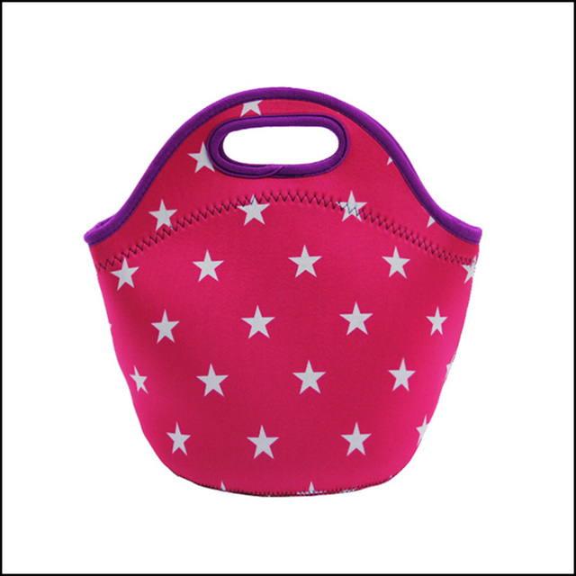Neoprene thermal picnic bag, lunch bag with star pattern