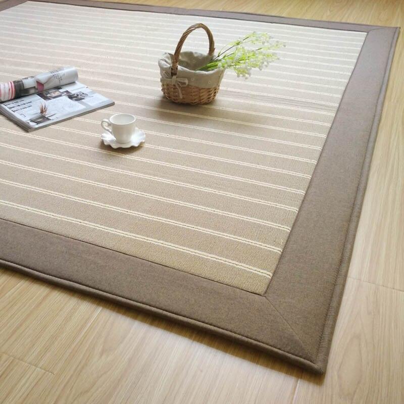 Winlife Japanese Simple Cotton Rugs Striated Soft Carpet Living Room Bedroom Mats Floor Anti Skid