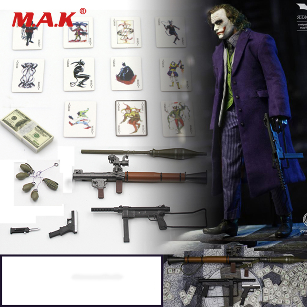 1/6 Scale Figure Scenes Accessory Joker Clown Accessories Bag Gun Knife Grenade Poker Model for 12 inches Action Figure 1 6 scale wwii walter p38 p 38 pistol gun model weapon toy for 12 inches soldier figure accessories