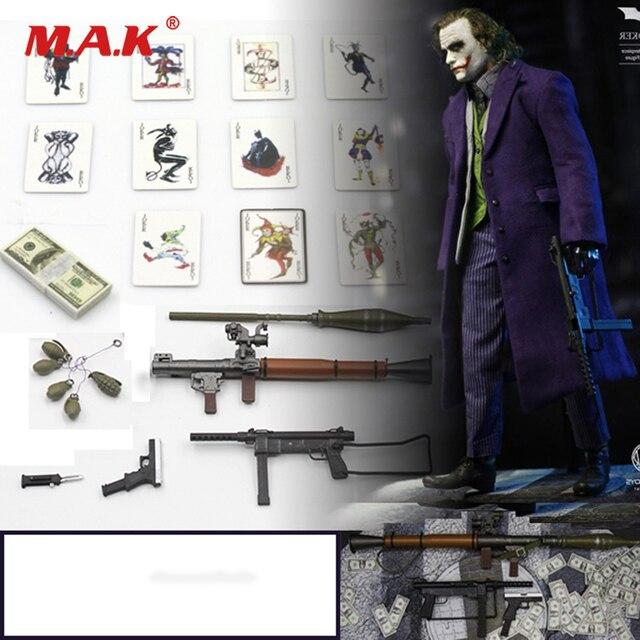 9511a6b877 1 6 Scale Figure Scenes Accessory Joker Clown Accessories Bag Gun Knife  Grenade Poker Model