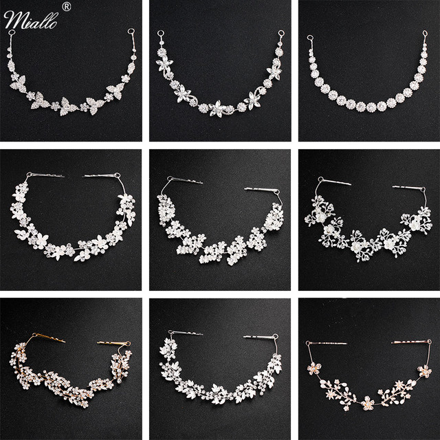 Miallo Classic Crystal Wedding Hair Vine Bridal Hair Jewelry Accessories Headpieces Women Headbands Princess Tiaras and Crowns