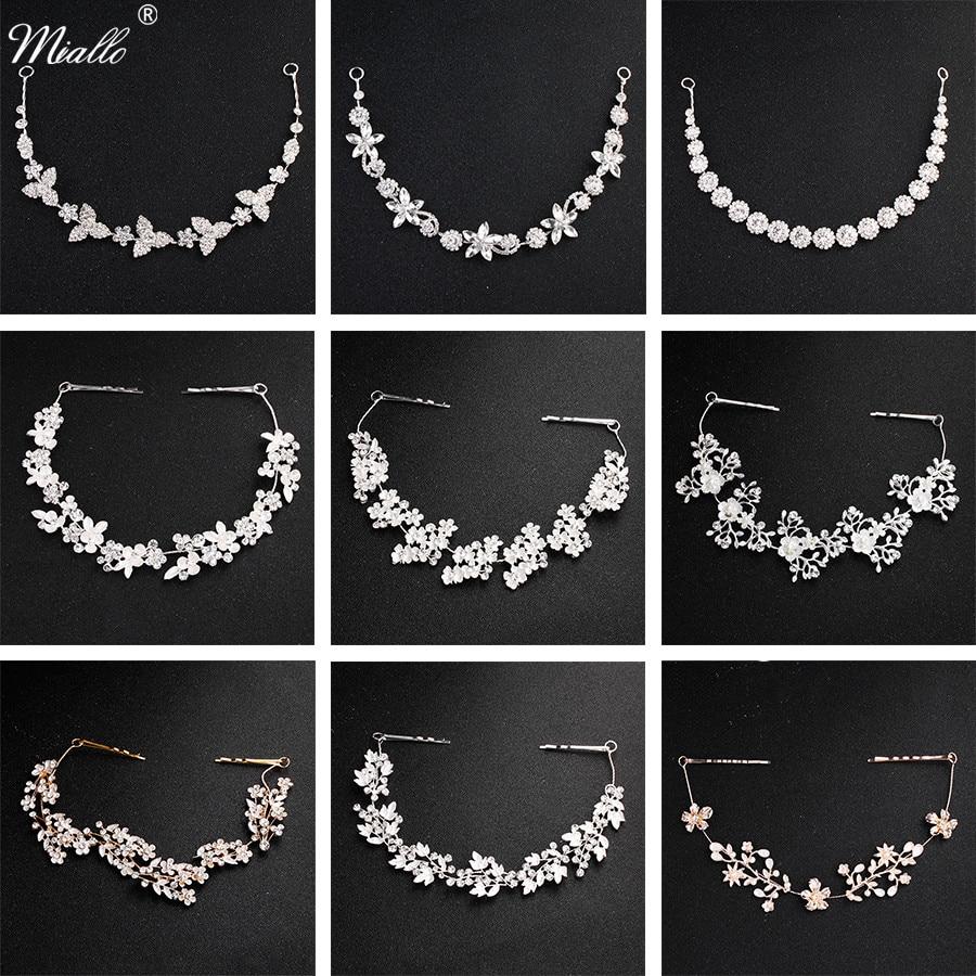Miallo Classic Crystal Wedding Hair Vine Bridal Hair Jewelry Accessories Headpieces Women Headbands Princess Tiaras and Crowns