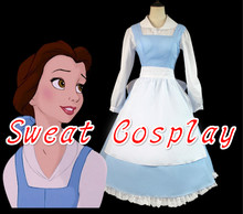 High Quality Adult princess belle costume beauty and the beast costume blue  color belle maid dress for women Cosplay Costume 06e8985095a4