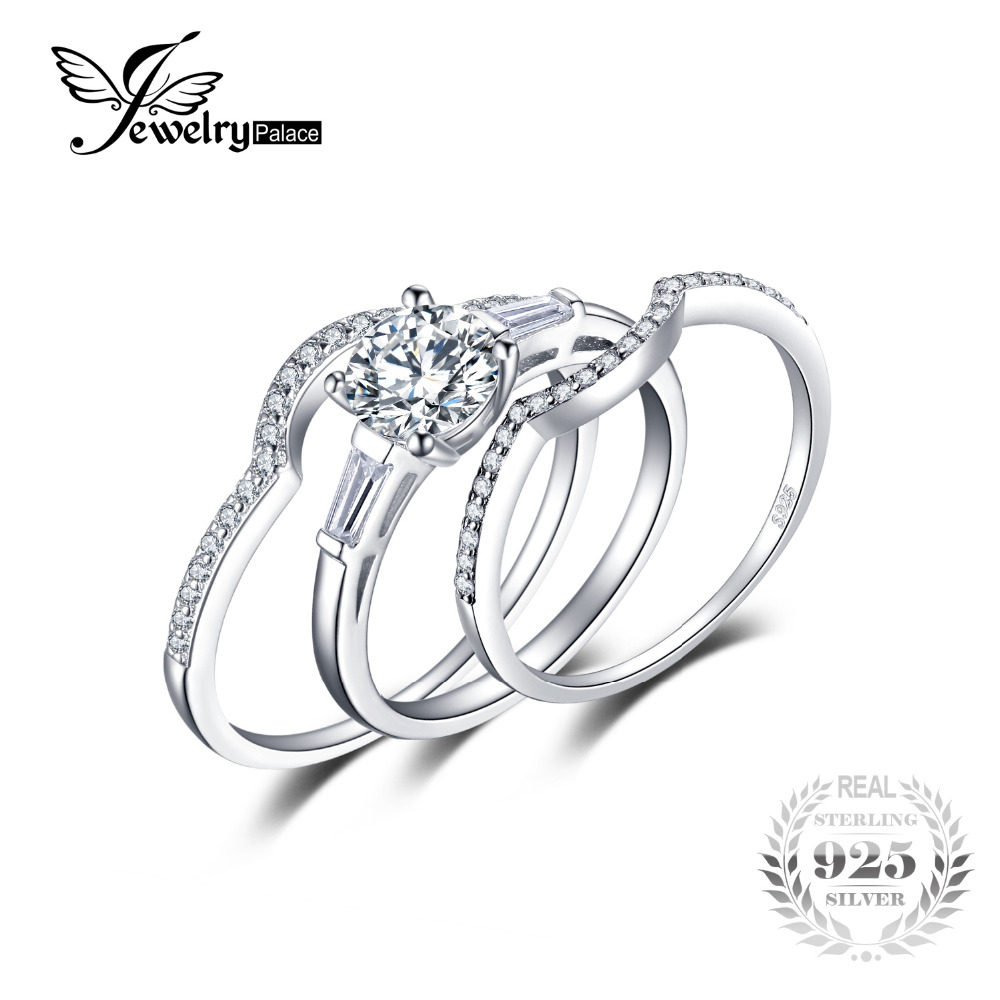 3 Stone Wedding Engagement Ring Sets 3 Pcs Classic Brand 1 04ct Cubic Zirconia Solid 925