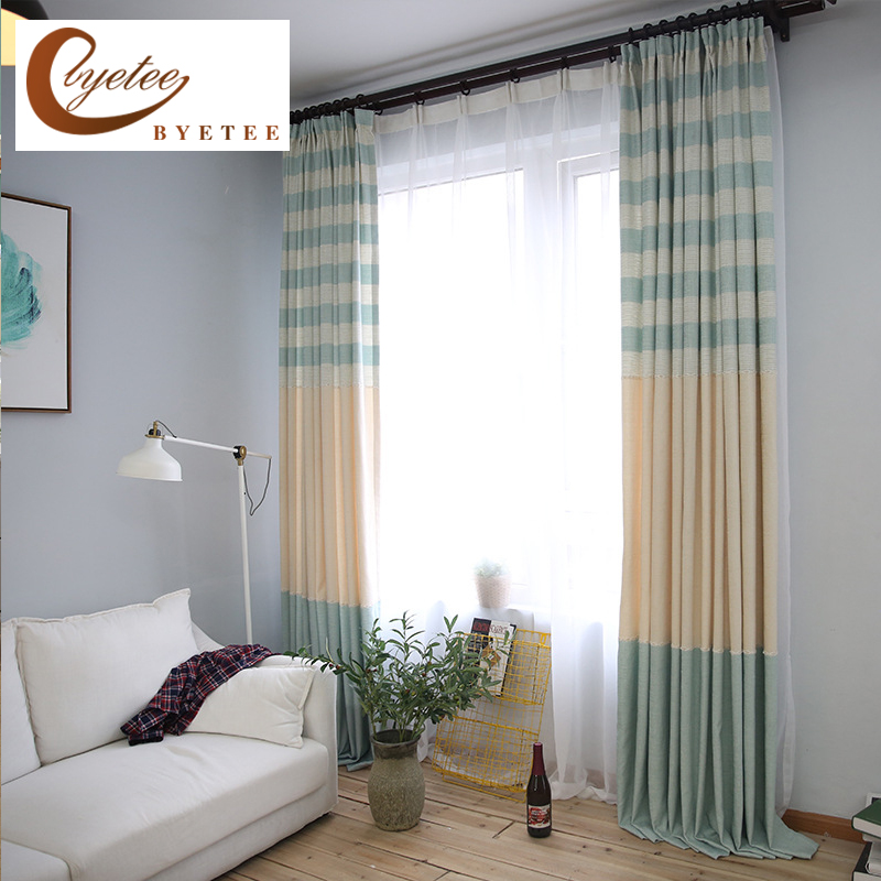 Linen Stripe Kitchen Curtains: [byetee] Simple Cotton Linen Stripe Kitchen Blackout