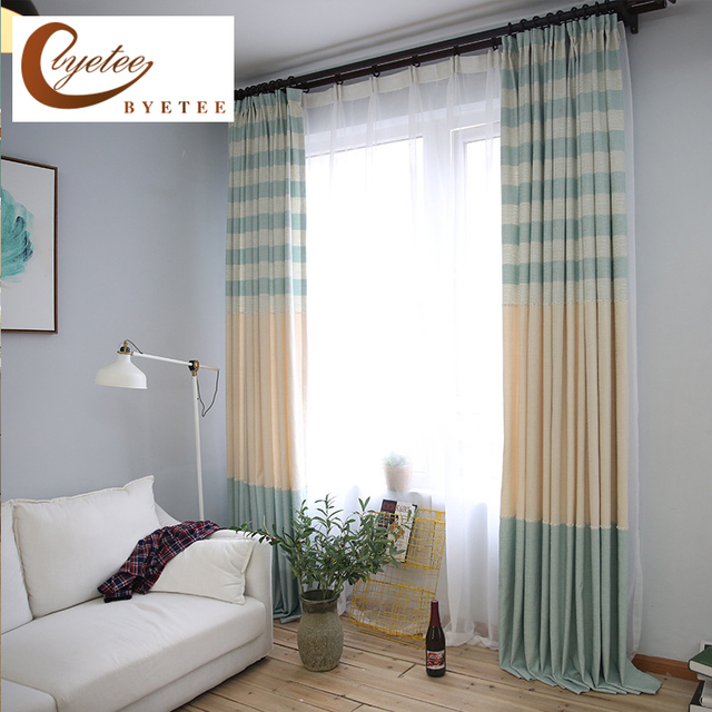 [byetee] Simple Cotton Linen Stripe Kitchen Blackout Curtains For Custom  Living Room Balcony Curtains