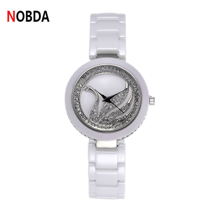 2017 Luxury Fashion swan ceramic watch Brand quartz watch beauty ladies wrist clock women Crystal Rhinestone montre femme weiqin luxury gold wrist watch for women rhinestone crystal fashion ladies analog quartz watch reloj mujer clock female relogios