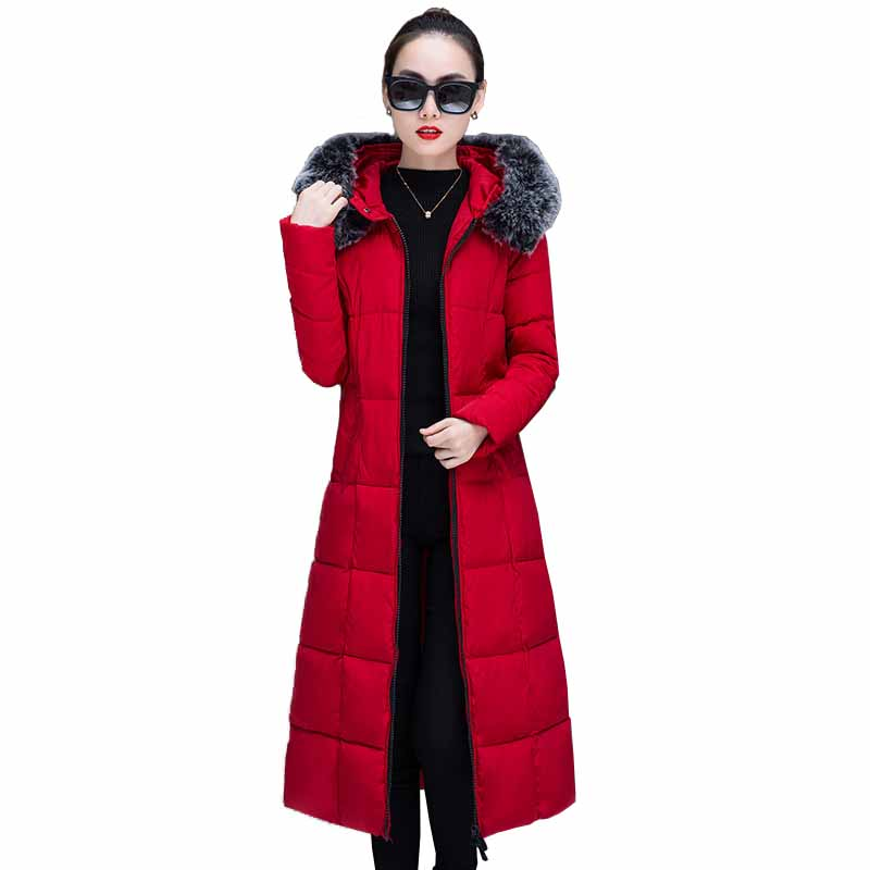 2019 Women winter hooded coat plus size cotton padded jacket female X-long parka womens Fur collar wadded jaqueta feminina G439