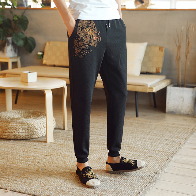 d96b7cb0daf05c men China style dragon embroidery spring leisure long pants drawstring Man Trousers  Designer Mens Joggers casual Sweatpants