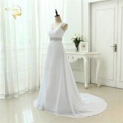 2019 Chinese Hand Made Beading Wedding Dress Chiffon Low Back Sexy Applique Lace Beach Vestidos De Novia Robe De Mariage JL0097 3