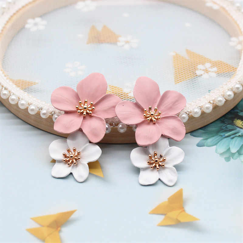 2019 New Design Fashion Jewelry Elegant big double Flower Mixed co Earrings Summer Style Beach Party earring for woman