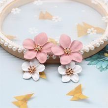 2019 New Design Fashion Jewelry Elegant big double Flower Mixed co Earrings Summer Style Beach Party earring for woman(China)