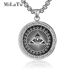 Milatu 2 colors cz stone eyes of evil pendant necklace women men stainless steel the eye.jpg 250x250