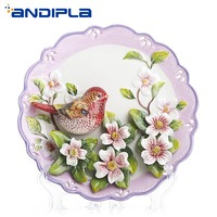 8 inch Creative Design Ceramics Emboss Little Bird Flower Painted Decoration Plate Wall Adornment Wedding Gifts Transparent Base