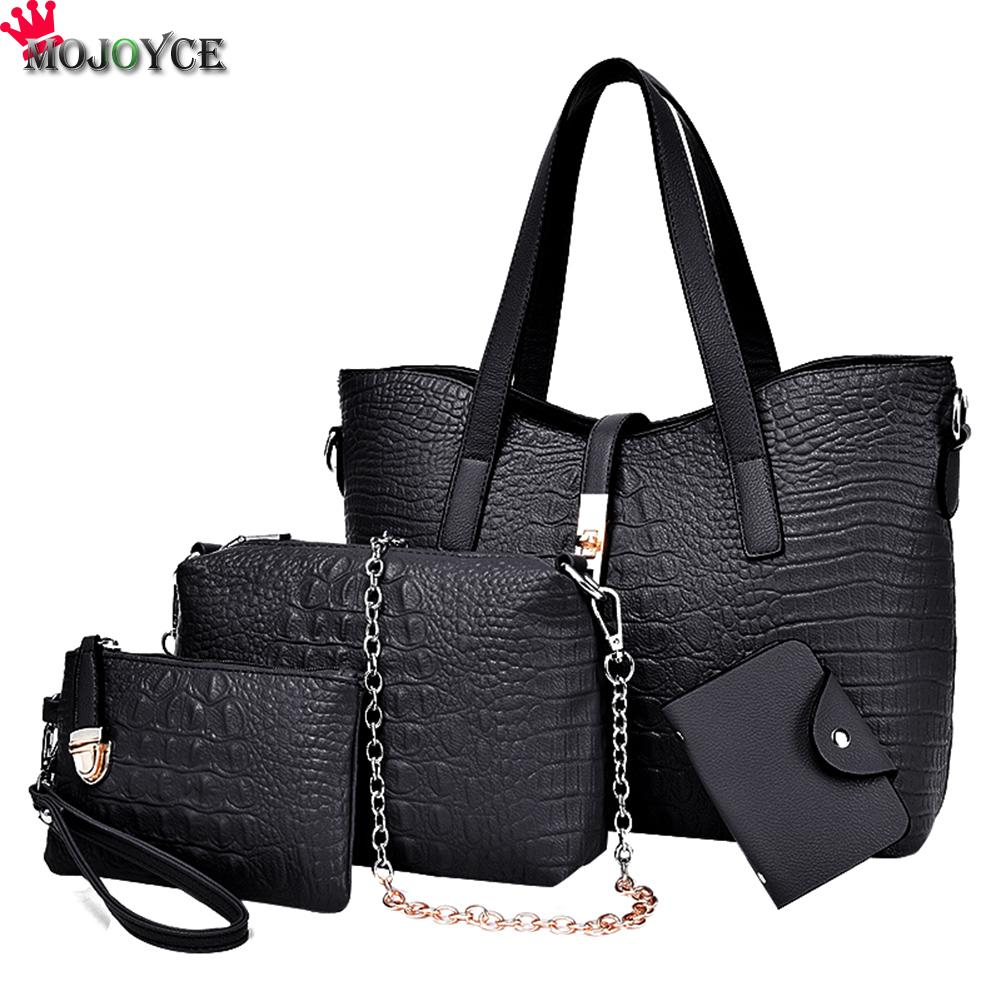 4pcs/set Women Handbag High Quality PU Leather Female Solid Tote Bag With Casual Messenger Bag Key Purse Composite Bags women bag set high quality tote bag