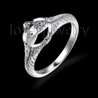Fashion Jewelry 14kt White Gold Semi Mount Setting Wedding Ring For Sell SR0077