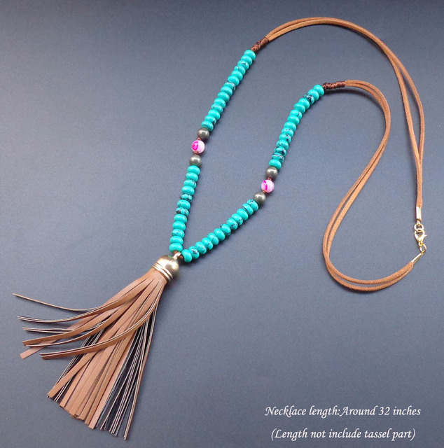 Natural stone Turquoise Wheel beads necklace Leather tassel necklace Bohemian long necklace