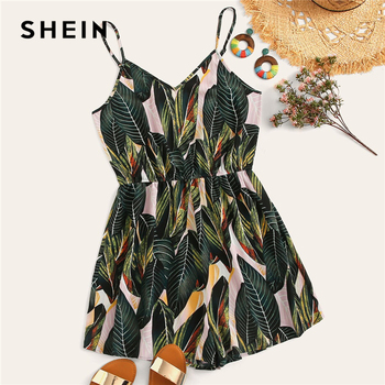 SHEIN Plus Size Multicolor Jungle Leaf Print Cami Romper 2019 Women Summer Boho Tropical Spaghetti Strap Sleeveless Jumpsuits