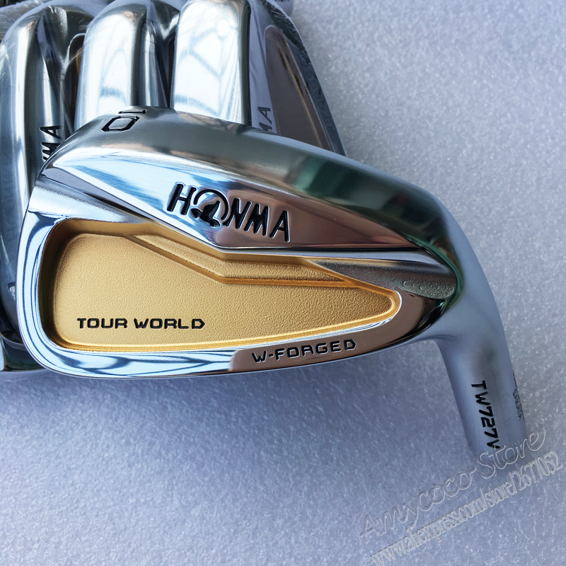 New Mens Golf irons head HONMA TW727V 24k gold Golf head set 4-10 Irons Club head no shaft Free shipping new mens golf irons head honma tw727v 24k gold golf head set 4 10 irons club head no shaft free shipping