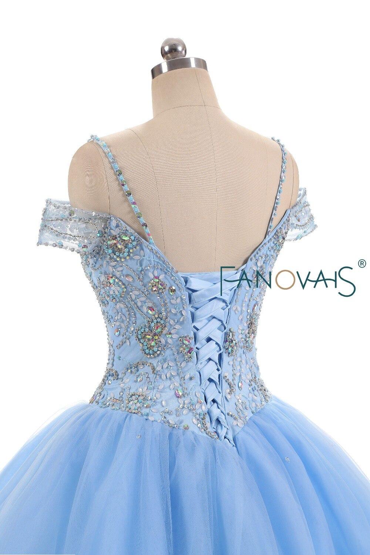 Lichtblauw Tulle Quinceanera Jurken vestido de debutantes e 15 anos - Jurken voor bijzondere gelegenheden - Foto 5
