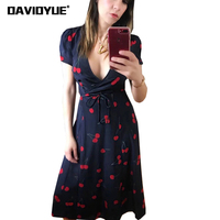 2018 Elegant Cherry Print Bohemian Beach Dress Women Summer Dress Sexy Deep V Neck Short Sleeve