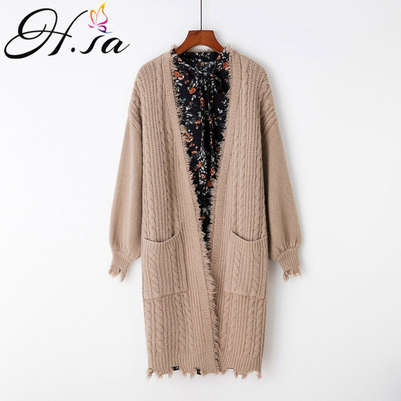 H SA New Women Long Sweater Coat V neck Casual Knitted Ponchoes Puff Sleeve Tassel Knit