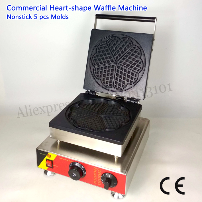 Nonstick Electric Heart-shape Waffle Baker Machine 5 Molds for Restaurant Cafeteria 110V/220V 1500W CE free shipping 5pcs tip35c tip35 to218 in stock