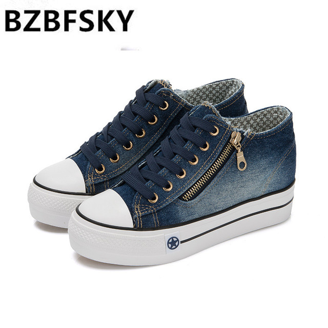 Womens High Platform Shoes 2017 Breathable Denim Shoe Women Casual Canvas  Shoes Thick Sole Trainers Ladies