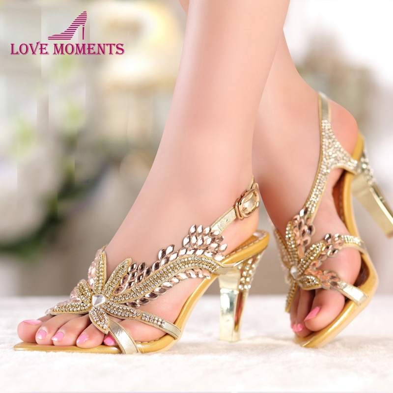 Fashion New Summer Sandals Crystal Rhinestones 8cm High Heels Prom Evening Party Shoes Chunky Heel Lady