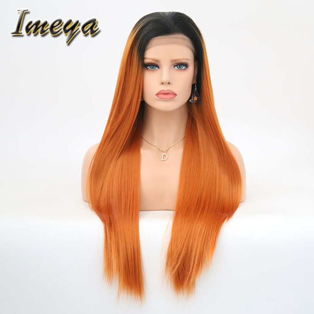 100% Quality Imeya Long Silky Straight Dark Roots Orange Color Natural Looking High Temperature Fiber Synthetic Lace Front Wigs For Women