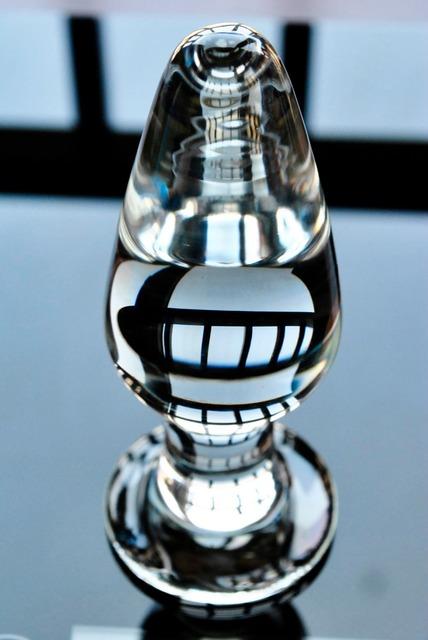 Pyrex glass butt plug anal dildo bead crystal ball male penis