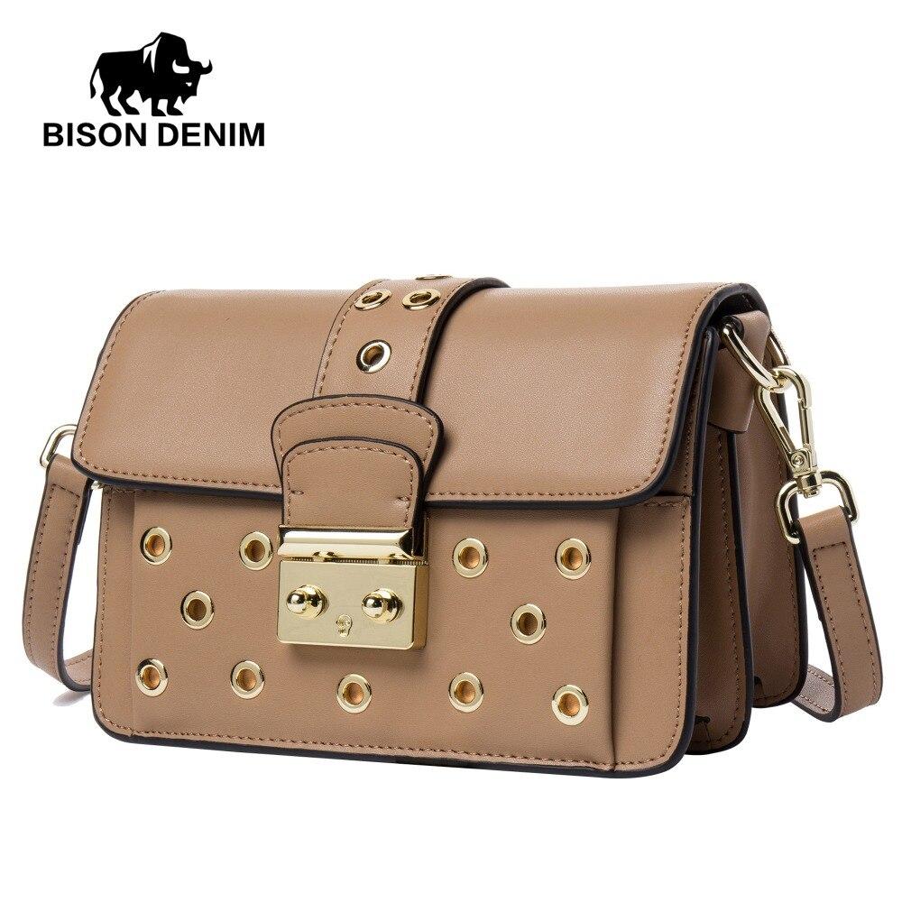 BISON DENIM 100% Genuine Cow Leather Hollow-out Luxury Women Shoulder Messenger Bags Fashion kanken Female Crossbody Bag N1403